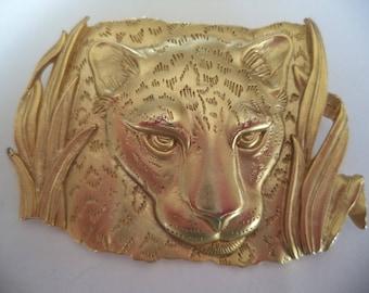 Vintage Signed JJ Gold pewter Leopard Brooch/Pin