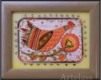 Ukrainian Folk, traditional Painting on glass Hand made Framed, Painted glass, Wall decor  19x24 cm