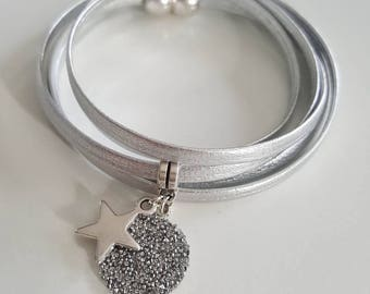 Silver Star leather bracelet