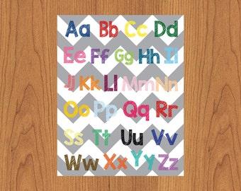 Alphabet Nursery Art Print Wall Art Child's Room ABC Colorful Chevron Teacher Aide Educational 11X14 Matte Finish Print (206)