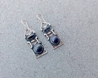 Sterling silver earrings with blue lapis lazuli and quartz gemstones, armenian, rustic, silversmith, rectangle, artisan, stamp, gift for her