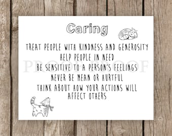 Caring sign // Printable // Character Pillar // Kindness //  School Counselor // Psychologist // PBSIS // Teacher // Classroom sign // Dog
