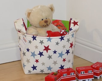 Storage basket, nursery storage, playroom storage, toy storage, nappy basket, toy basket, bedroom storage, stars basket