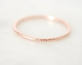 Rose Gold Filled Stacking Rings, Small Stacking Rings, Faceted Stacking Rings, Stacking Rings, Rose Gold Rings, Simple Rings, Textured Rings