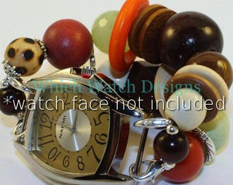 SALE Summer Wood.. Chunky Brown, Orange, Cream and Green Wood and Acrylic Interchangeable Beaded Watch Band