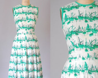Riverside silk novelty print dress | vintage silk dress | vintage novelty print dress