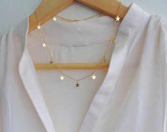 Stars Necklace,  Gold Plated Necklace, Gold Dainty Jewelry, Cool Minimalistic Necklace, Astrology Jewelry, Modern Necklace