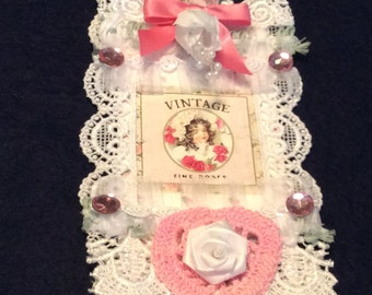 Birthday Gift Tag, Sister Gift Tag, Friend Gift Tag, Vintage Tag, Embellished Tag, Hang  Tag, Lace Tag, OOAK