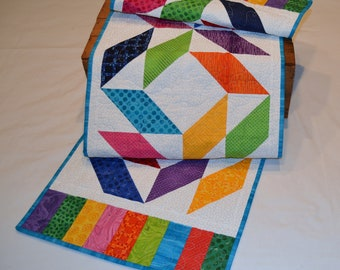 """Handmade geometric quilted table runner, multi-colored, 58"""" x 15"""""""