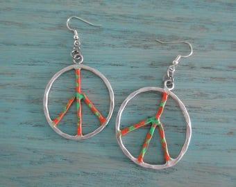 Peace Sign Dangle Earrings, Large Hoop Peace Earrings, Hand Painted, One Of A Kind, Peace Symbol Earrings, Boho Hippie Earrings