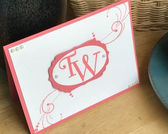 Monogrammed note card set, Personalized note card set, Set of 8 monogrammed cards, Boxed set of monogrammed cards
