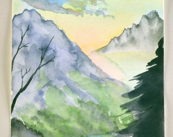 """6x9"""" watercolor mountain painting cold press 140 lb cotton paper trees pine trees pines mountains sky landscape"""