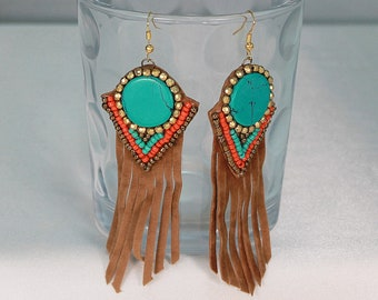 Fringe earrings, long leather fringe earrings, turquoise leather earrings.
