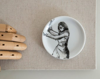 Black and white small round porcelain plate. Modern coaster art painting, gift for her, coaster gift.