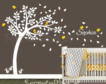 Nursery Wall Decal. Wall Decals Nursery.  Nursery Decal. Tree and Custom Name Wall Decal. Windy Tree Decal . Monogram . Nursery