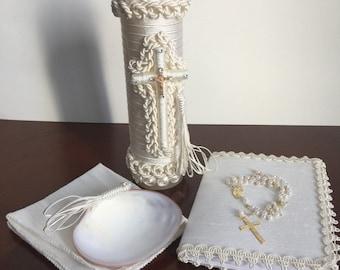 Baptism candle set, baptism ceremony set, baptism rosariy, religious candle, vela para Bautizo, Christening candle