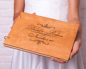 Guest book Wedding Rustic guestbook Unique guest book Wedding guest book ideas Custom Monogram Wooden guest book Personalized guestbook