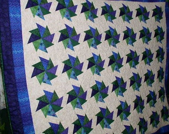 Gorgeous Pinwheel quilt, greens and purples, custom made quilt