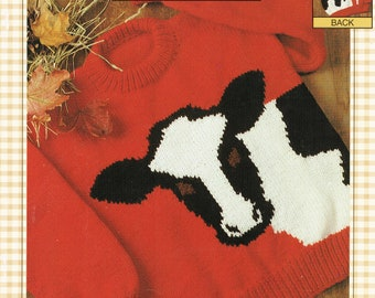 Bernat Pattern Book Presents eweCanknit : The Cow family sizing knit patterns