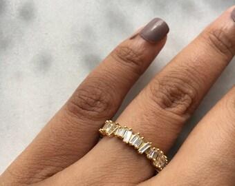 SCATTER Gold Irregular Jagged Cut Baguette Crystal Stacking Stackable Ring