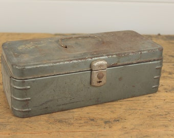 Industrial Blue Silver Crusty Rusty Metal Tool Box, Vintage Toolbox Tool Chest, Latches, Industrial Decor, Metal Storage Display Box, Old