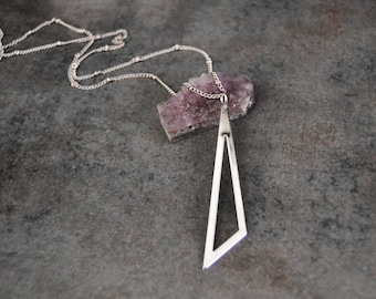Triangle Necklace  Long Silver Necklace  Simple Necklace  Boho Necklace  Layering Necklace  Pendant Necklace