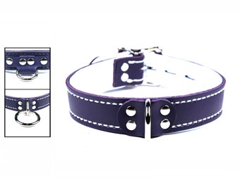 Purple Latigo Collar with White Leather Lining  and Locking Buckle - Your Choice of Front Ring & Stitching