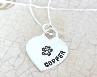 Pet Necklace   Custom Paw Print Necklace   Paw Print Heart   Pet Name Necklace   Pet Mom Jewelry   Pet Love   Pet Loss   Dog Jewelry   Cat