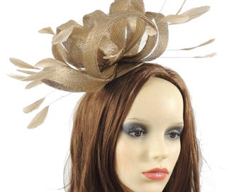 Fireball Metallic Gold Fascinator Hat for Weddings, Kentucky Derby With Headband (40 colours)