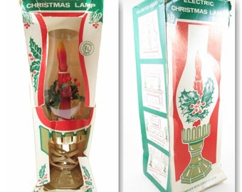 Electric Christmas Hurricane Style Lamp with Candle Holly Berries in Box