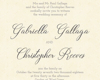 Monogram Wedding Invitation set for Gabriella - monogram, vintage, classical, typography, simple, circle, formal, wedding, invitation