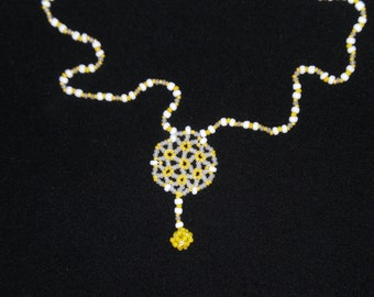 White en yellow necklace for you- handmade