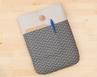 iPad sleeve, iPad cover, iPad Pro 12.9 inch sleeve padded  - mini chevron charcoal -