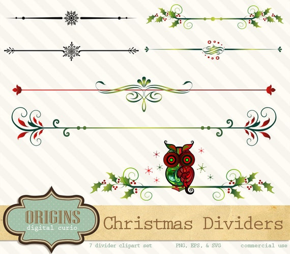 Christmas Holiday Page Dividers with owl PNG and Vector