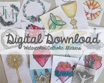 Watercolor Catholic Stickers- Digital Download