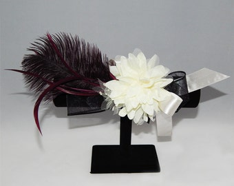 Light Yellow Flower Corsage with Feather
