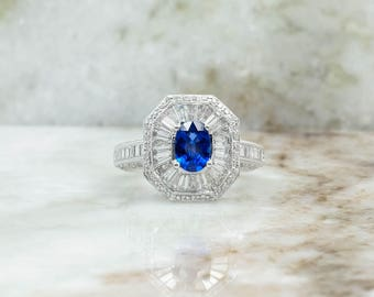 18K White Gold 0.75ct Oval Sapphire & 2.00ctw Diamond Accented Cocktail Ring