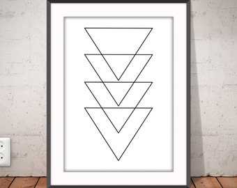 TRIANGLES poster, Geometric print, Triangles b&w, Abstract poster, Nordic style, black and white, Graphic home decor, Ikea Ribba frame,#2003