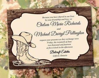 """Printable Wedding Invitation Template - """"Country Western"""" Printable Invitation DIY Wedding Template - Printable Wedding Instant Download"""