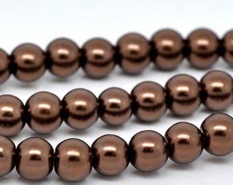 8 mm Glass Pearls, Bronze  (2100)