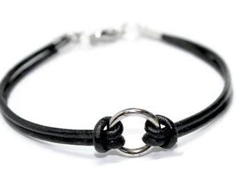 "Leather Bracelet ""Circle of Life""  , Unisex, Modern, boho, minimalist, rocker, elegant -  by Lissie Design - Free shipping!"