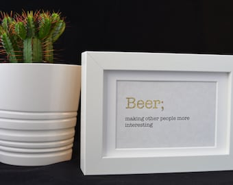 Urban Dictionary Wall Art / Beer Definition / Dictionary Art / Funny Definition / Word Art