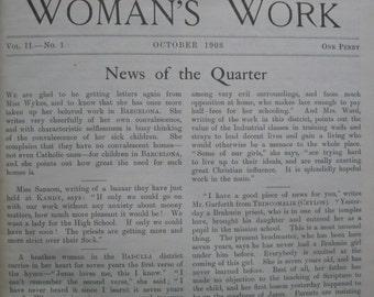 Woman's Work 1908 - 1911. Bound Volume. Vol 2. No 1