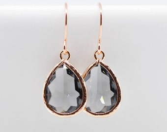 Earrings Rosegold Black Grey