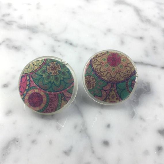 Resin earrings, mandala, pastel, rose, blue, stud, unique, handmade, sold, earring, hypoallergenic stud