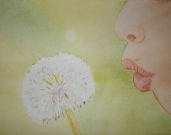 July challenge: a child blowing on a dandelion