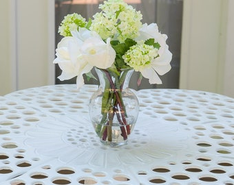 Fake flowers in vase etsy real touch white roses and finest silk snow ball hydrangeas arrangement artificial faux in round glass vase for home decor mightylinksfo