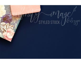 Blue Horizontal Styled Stock Product Photography Background w/Pink Notebook, Journal, Pens, Wallet, Jewelry Holder / High Res File #INF116SS