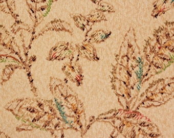 1920s Vintage Antique Wallpaper Leaves on Beige with Aqua Textured by the Yard--Made in England