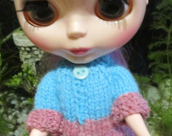 3 assorted sweaters hand knit sweaters for Blythe & similar dolls